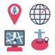 Map & Navigation Color Vector Icons Set