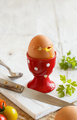 Soft-boiled egg on a white wooden table - PhotoDune Item for Sale