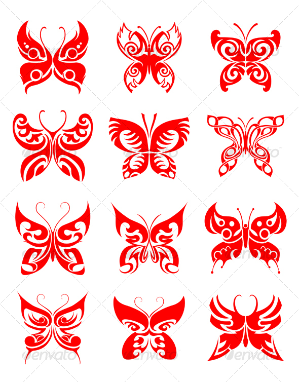 Tattoos set of butterfly - Tattoos Vectors