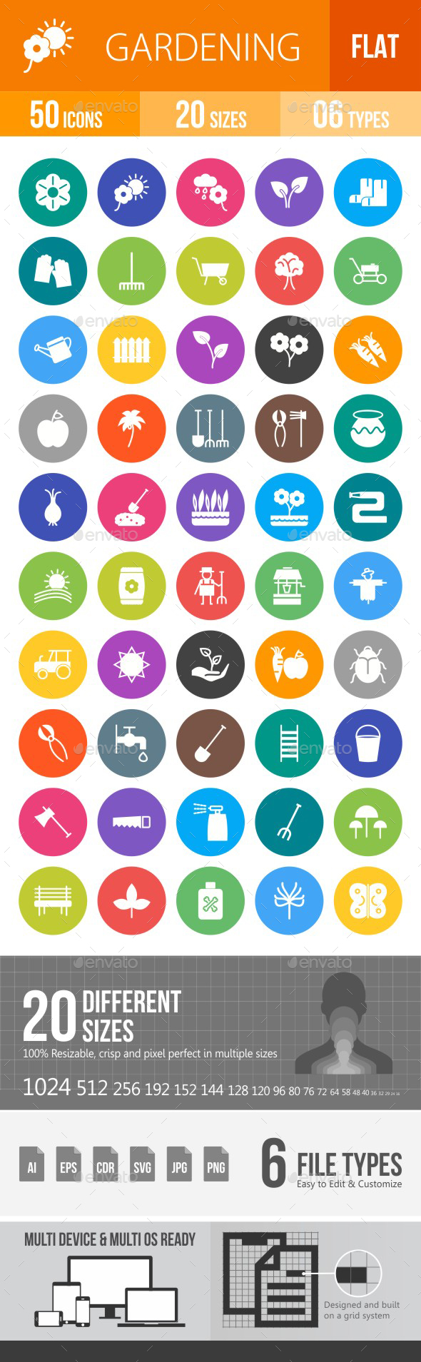Gardening Flat Round Icons - Icons
