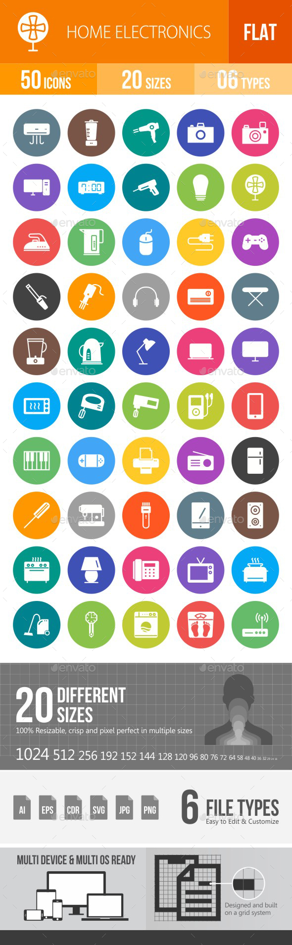 Home Electronics Flat Round Icons - Icons