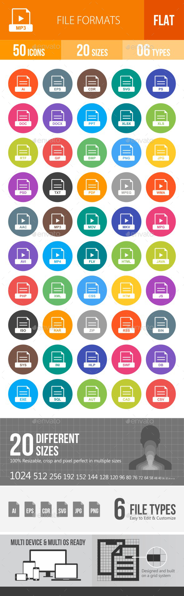 File Formats Flat Round Icons - Icons