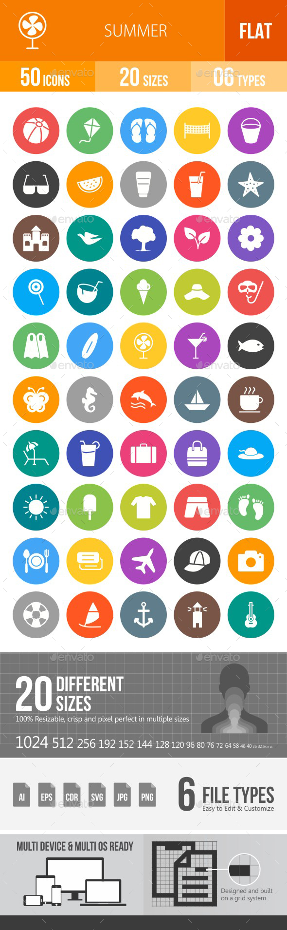 Summer Flat Round Icons - Icons