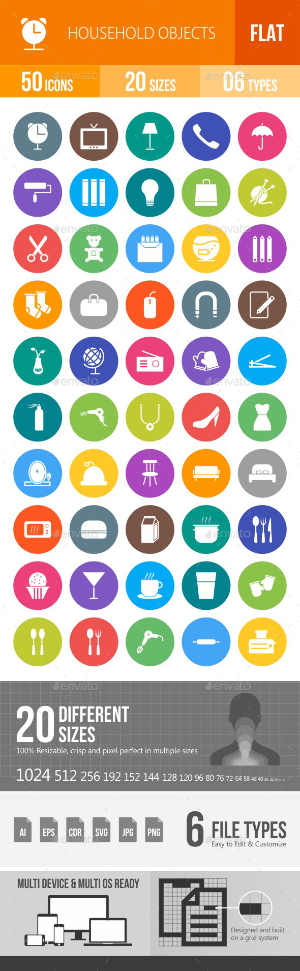 Household Objects Flat Round Icons - Icons