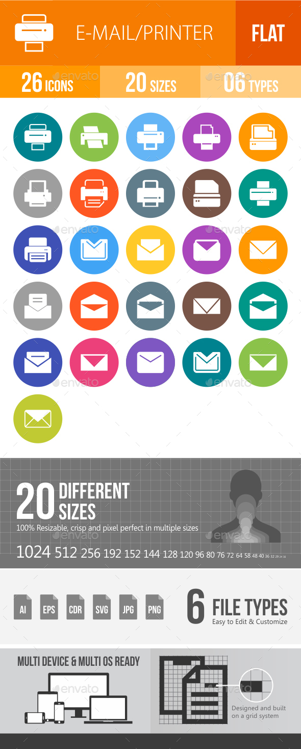 Email & Printer - Technology Flat Round Icons - Icons