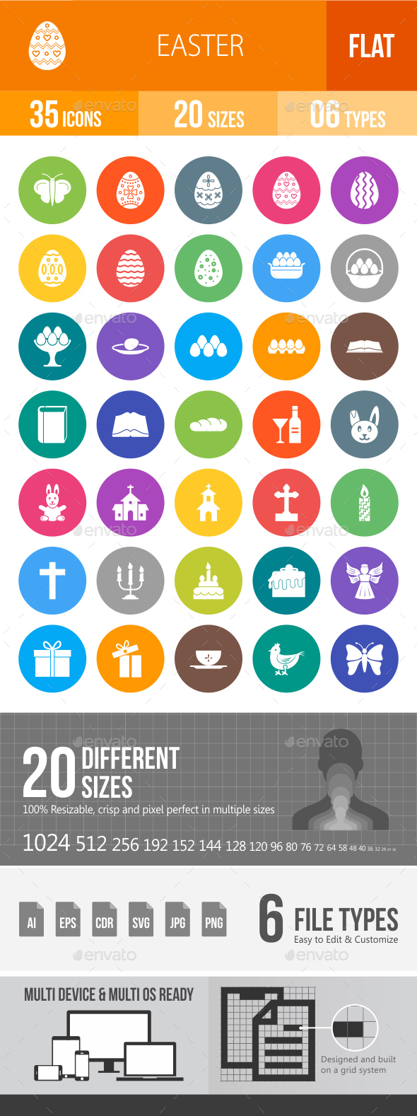 Easter Flat Round Icons - Icons