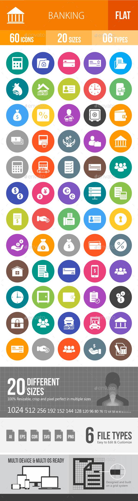 Banking Flat Round Icons - Icons