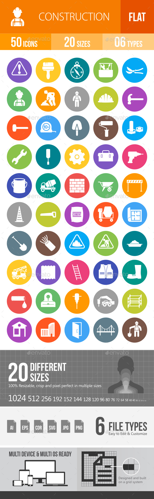 Construction Flat Round Icons - Icons