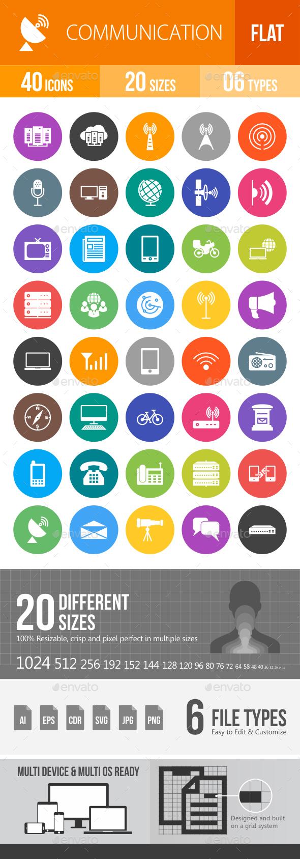 Communication Flat Round Icons - Icons