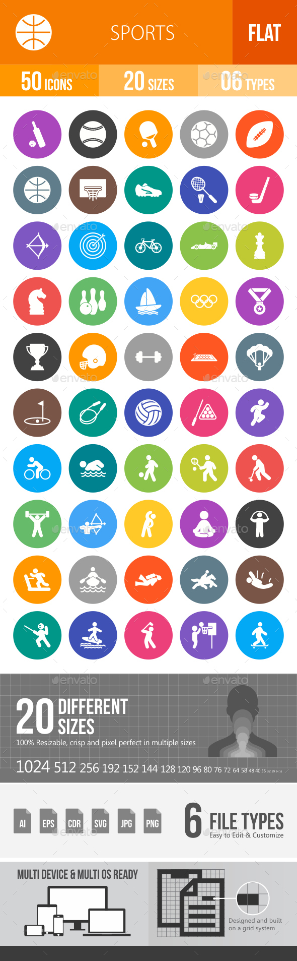 Sports Flat Round Icons - Icons