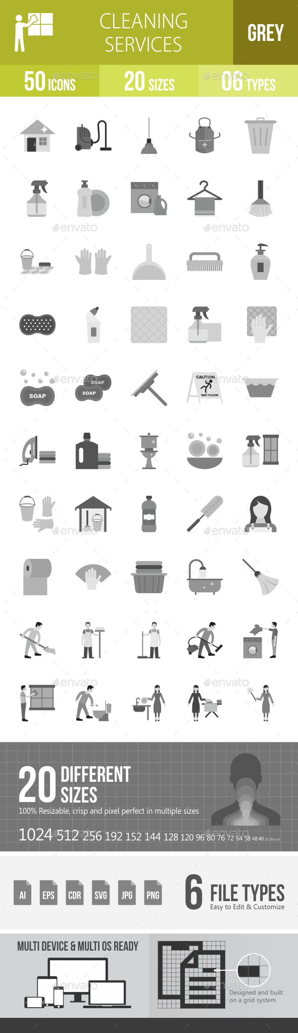 Cleaning Services Greyscale Icons - Icons