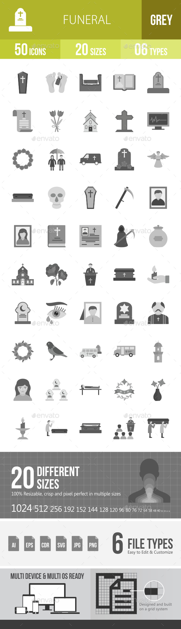 Funeral Greyscale Icons - Icons