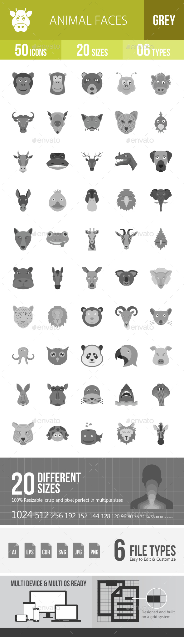 Animal Faces Greyscale Icons - Icons