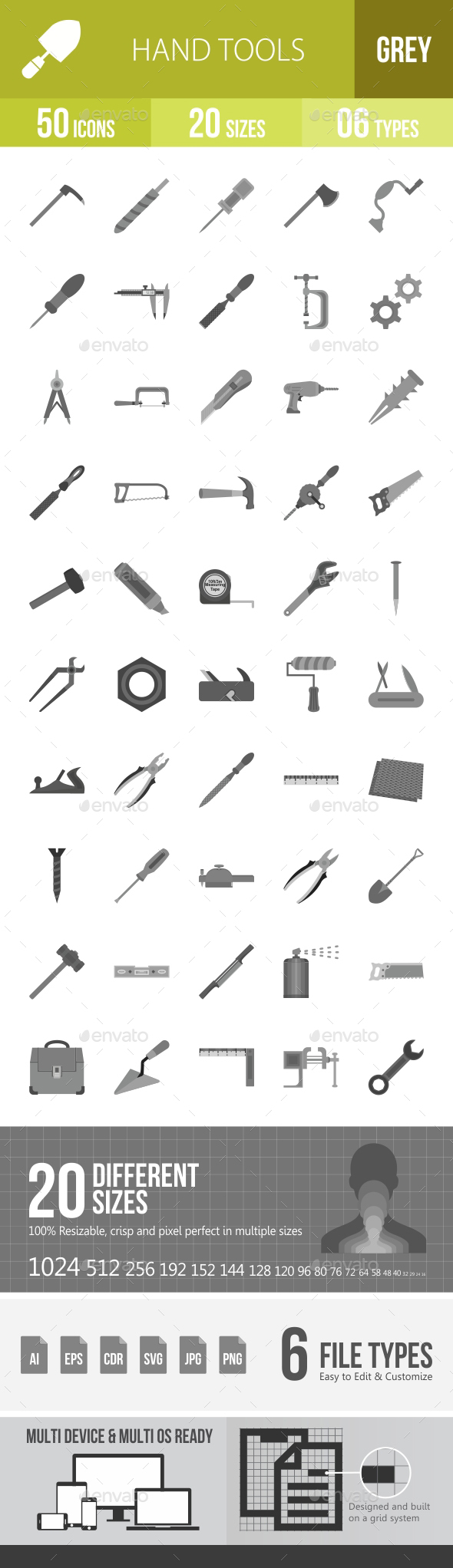 Hand Tools Greyscale Icons - Icons