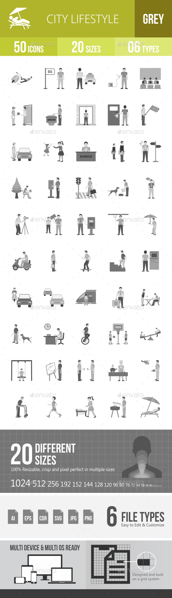 City Lifestyle Greyscale Icons - Icons
