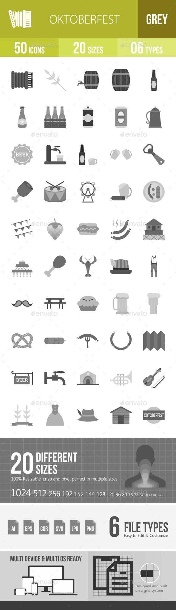 Oktoberfest Greyscale Icons - Icons