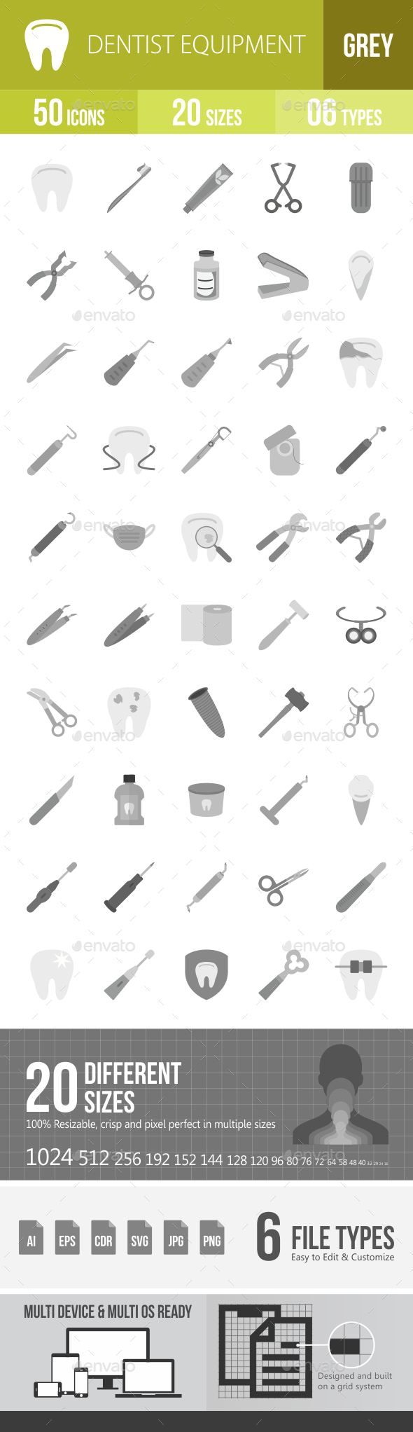 Dentist Equipment Greyscale Icons - Icons