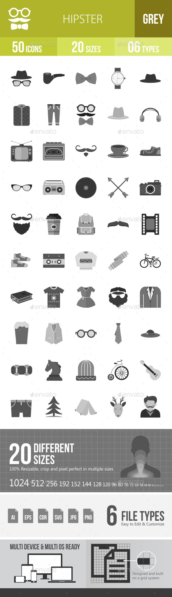 Hipster Flat Round Icons - Icons