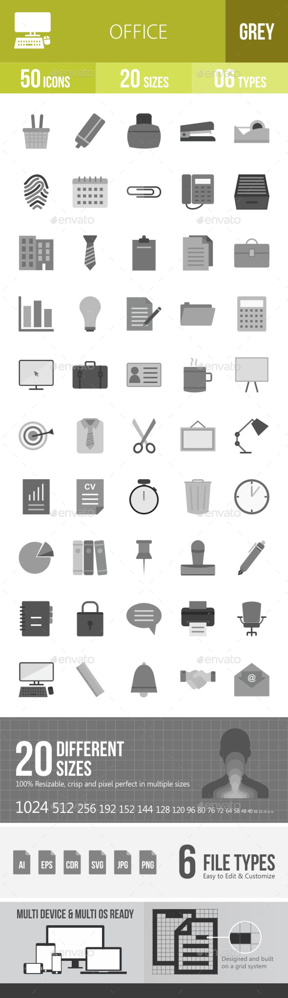 Office Flat Round Icons - Icons