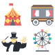 Circus Color Illustration Vector Icon Pack - GraphicRiver Item for Sale