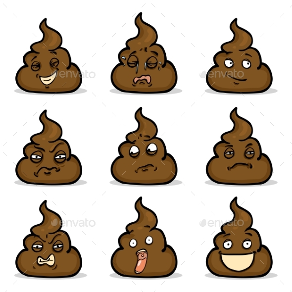 Vector Set of Turd Emoticons - Miscellaneous Characters