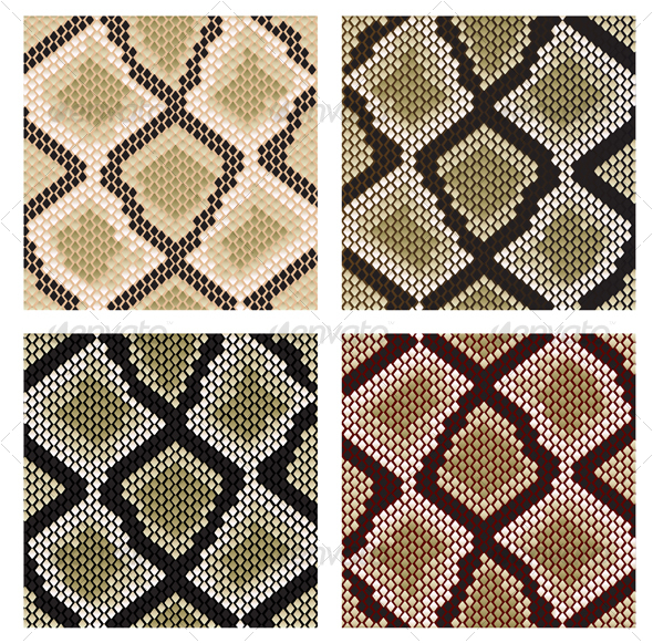 Set of snake skin patterns - Decorative Vectors