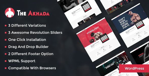 Fitness WordPress Theme - Akhada For Fitness - Health & Beauty Retail