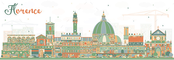 Florence Italy City Skyline with Color Buildings - Buildings Objects