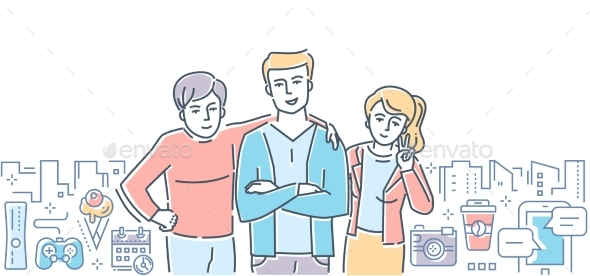 Friendship - Colorful Line Design Style - People Characters
