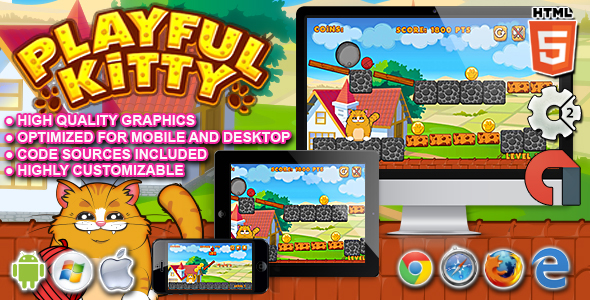 Playful Kitty - HTML5 Construct 2 Game - CodeCanyon Item for Sale