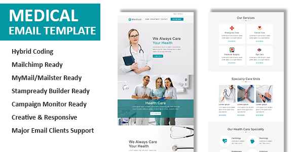 Medical - Multipurpose Responsive Email Template with Online StampReady Builder Access - Newsletters Email Templates