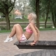 Young Woman Doing Abs Crunches in Park on a Bench - VideoHive Item for Sale