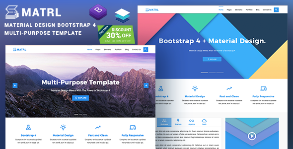 MATRL |  Bootstrap 4 Material Design Multipurpose Template - Corporate Site Templates