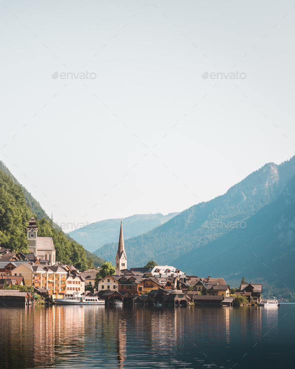 Sunny summer day in the Hallstatt village - Stock Photo - Images