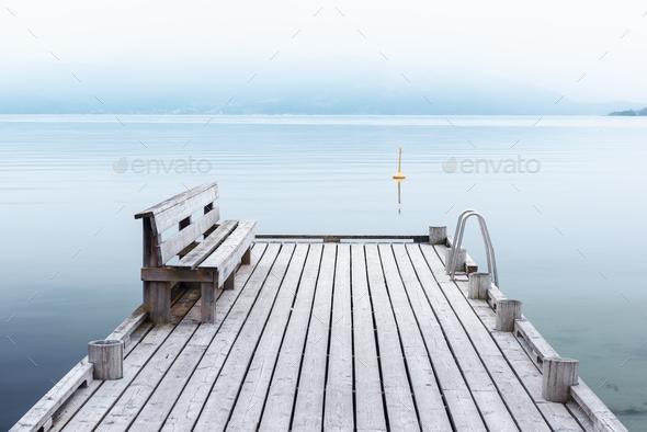 Misty morning on Norheimsund village - Stock Photo - Images