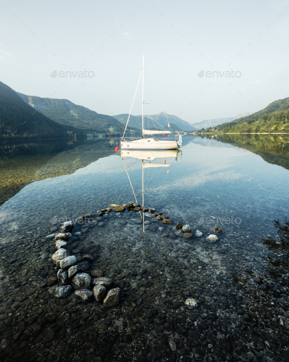 Sunny summer morning on the Grundlsee - Stock Photo - Images