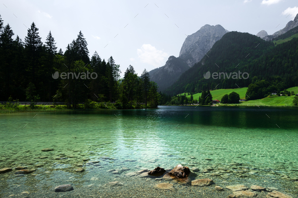 Amazing misty summer day on the Hintersee - Stock Photo - Images