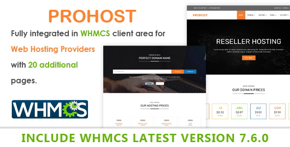 Prohost WHMCS and HTML Template - Hosting Technology