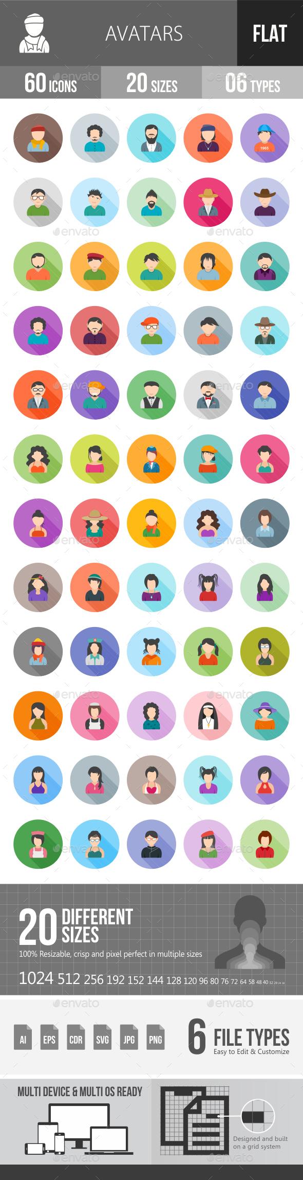 Avatars Flat Shadowed Icons - Icons