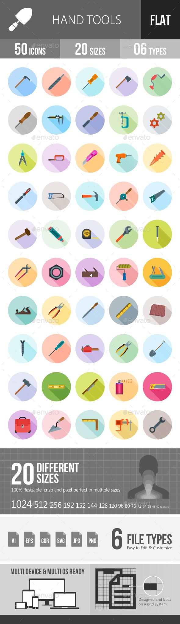 Hand Tools Flat Shadowed Icons - Icons
