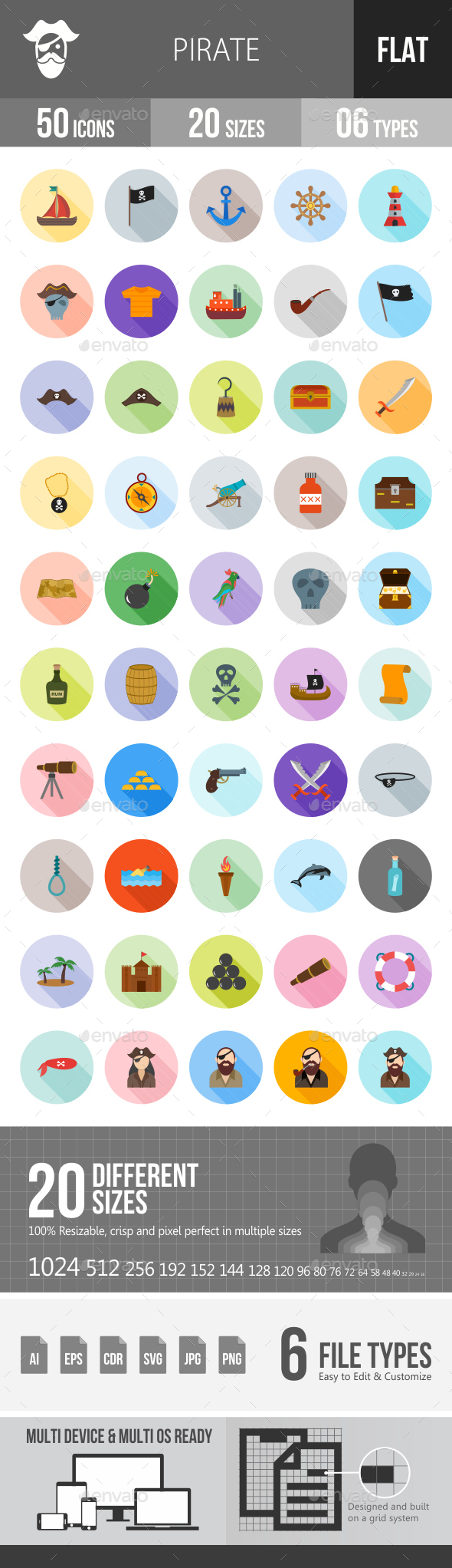 Pirate Flat Shadowed Icons - Icons