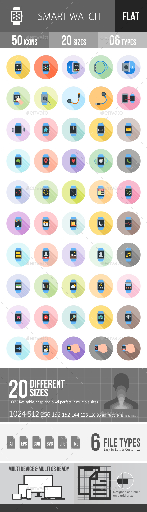Smart Watch Flat Shadowed Icons - Icons