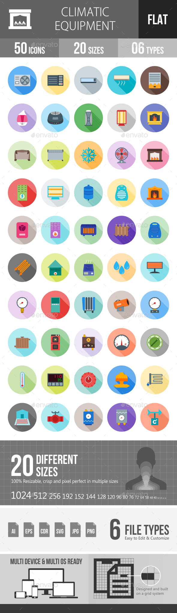 Climatic Equipment Flat Shadowed Icons - Icons