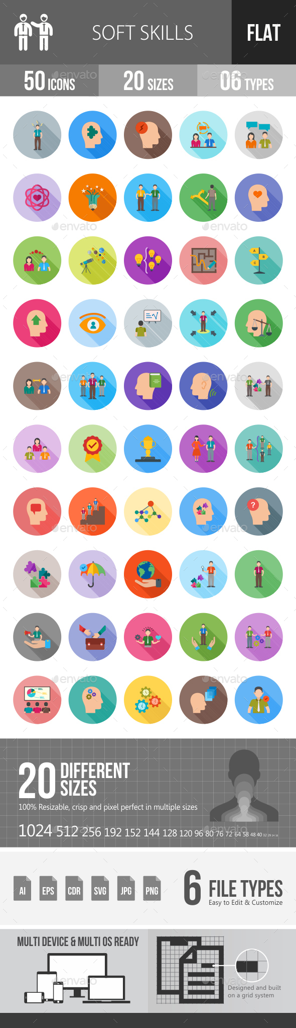 Soft Skills Flat Shadowed Icons - Icons