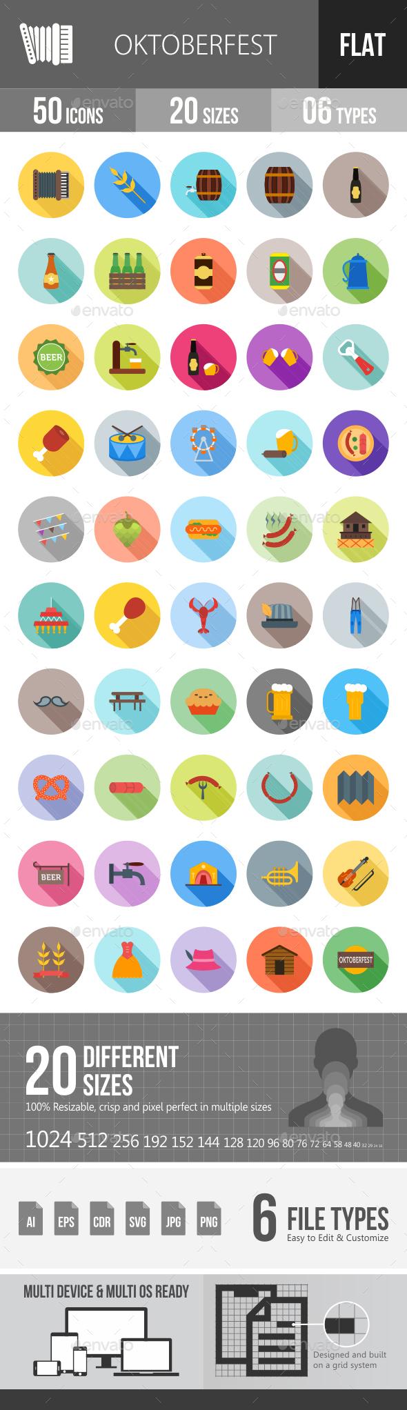 Oktoberfest Flat Shadowed Icons - Icons