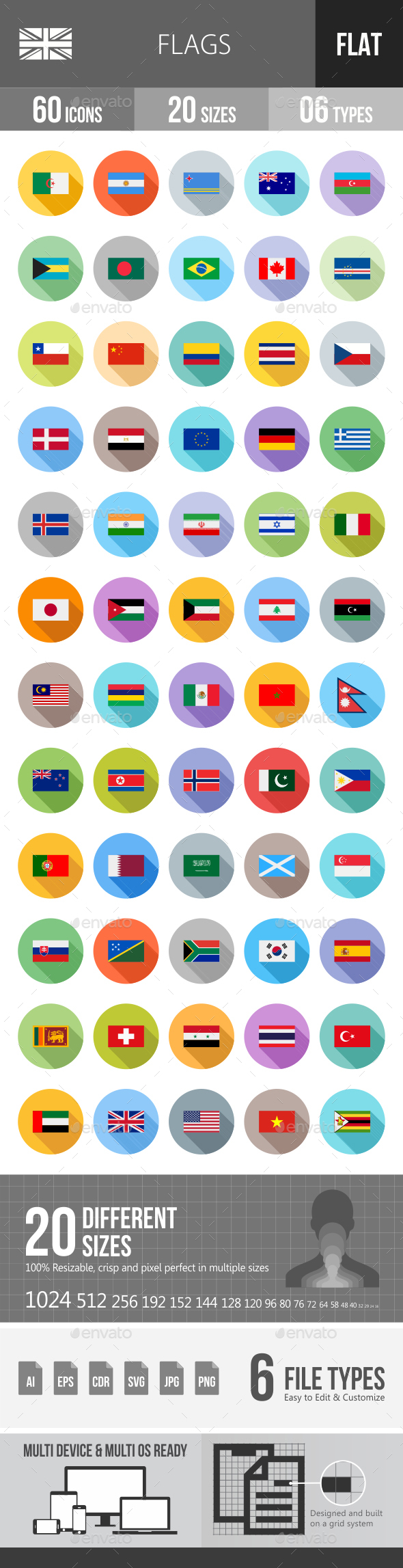 Flags Flat Shadowed Icons - Icons