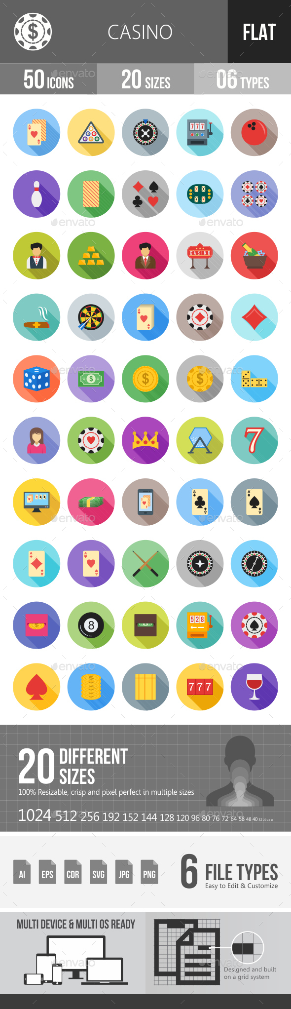 Casino Flat Shadowed Icons - Icons