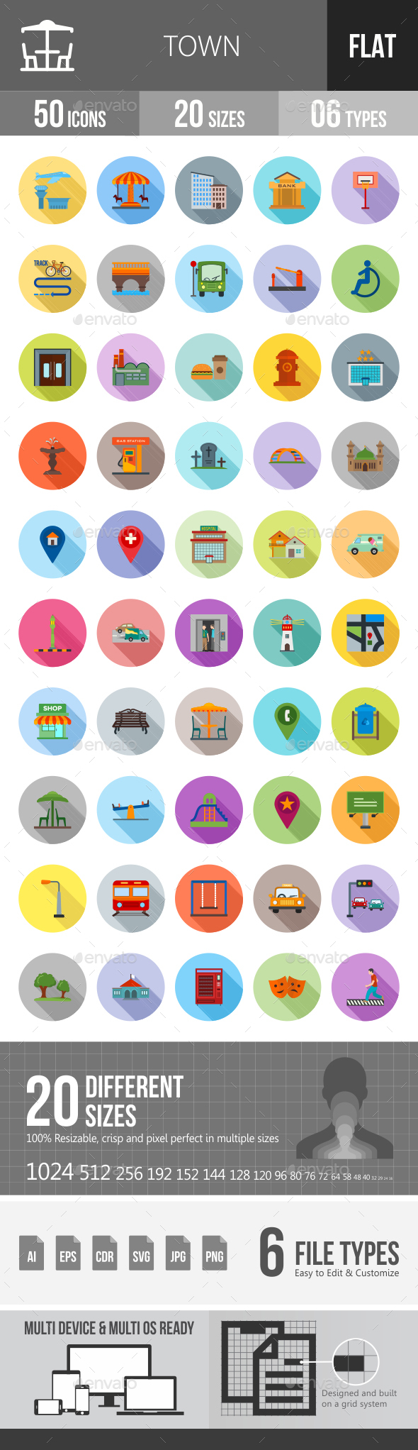 Town Flat Shadowed Icons - Icons