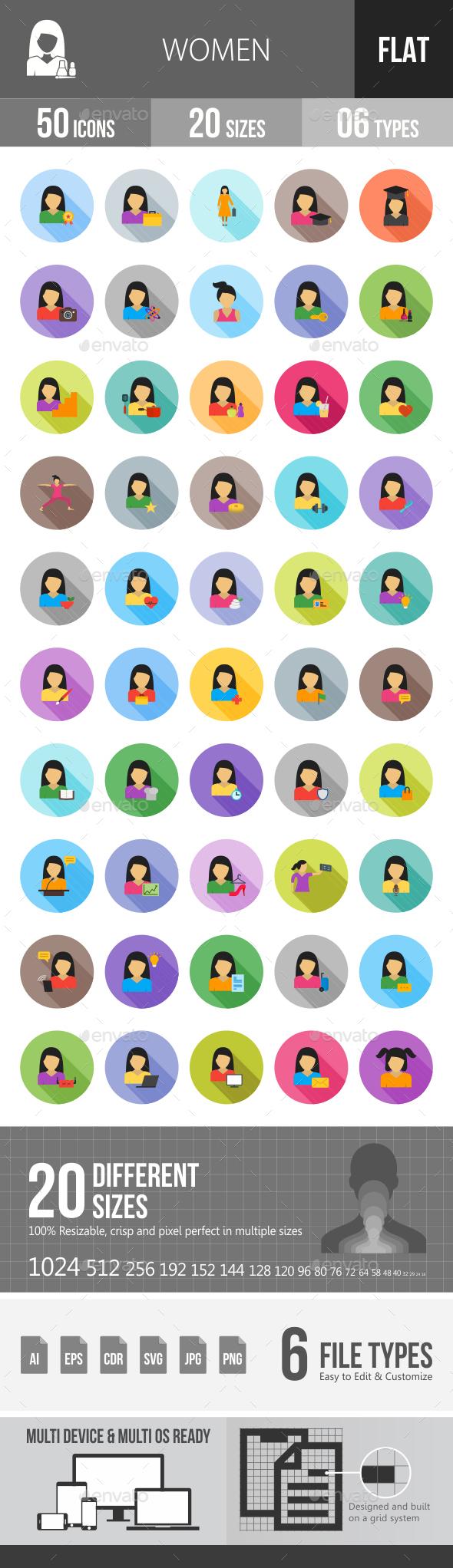Women Flat Shadowed Icons - Icons