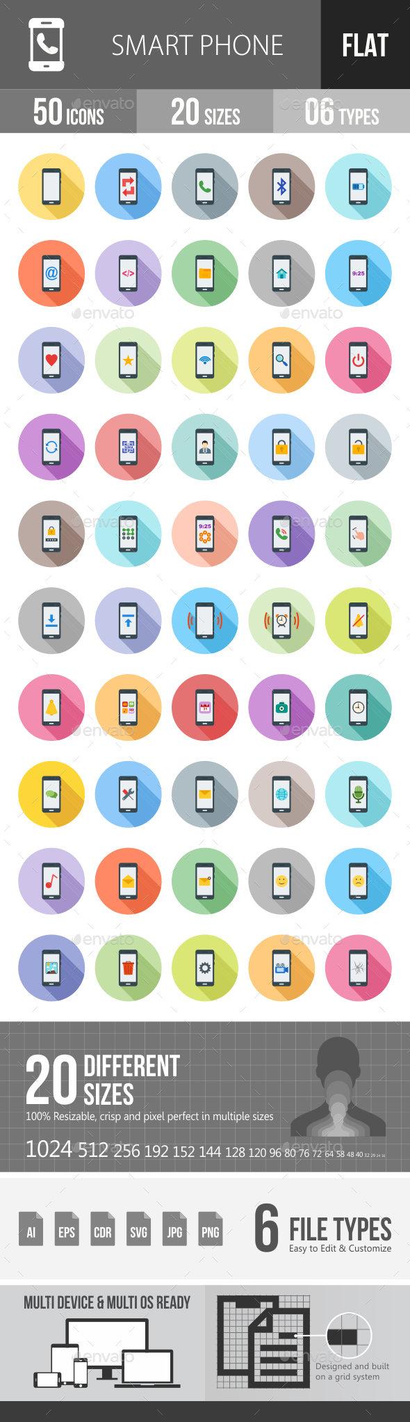 Smartphone Flat Shadowed Icons - Icons
